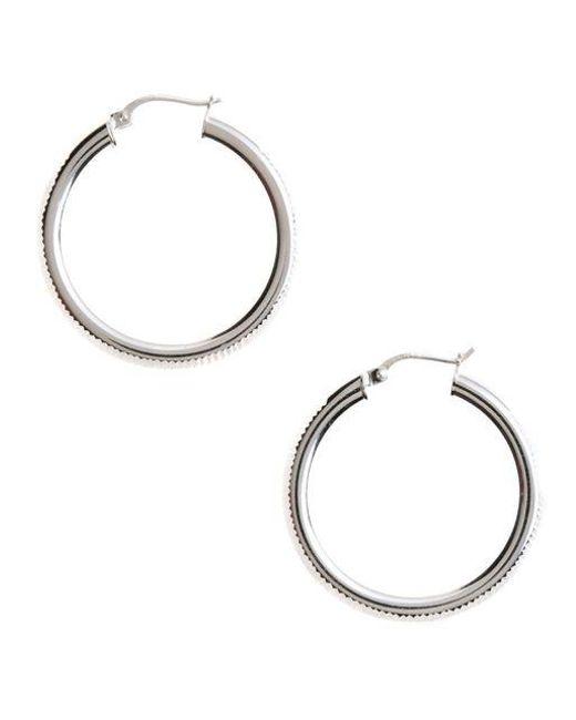 Lord & Taylor | Metallic Sterling Silver Ribbed Hoop Earrings | Lyst