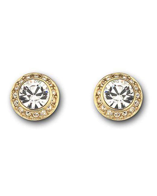 Swarovski | Metallic Faceted Crystal Bezel Earrings | Lyst
