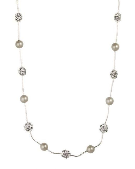 Anne Klein   Metallic Silvertone Necklace With Faux Pearl And Pave Crystal Accents   Lyst