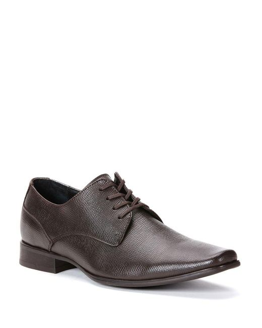Calvin Klein | Brown Brodie Embossed Leather Oxfords for Men | Lyst