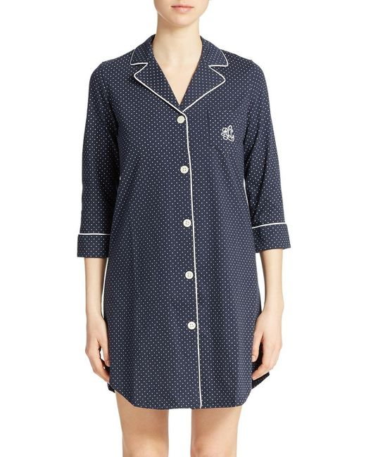 Lauren by Ralph Lauren | Blue Plus Striped Sleepshirt | Lyst