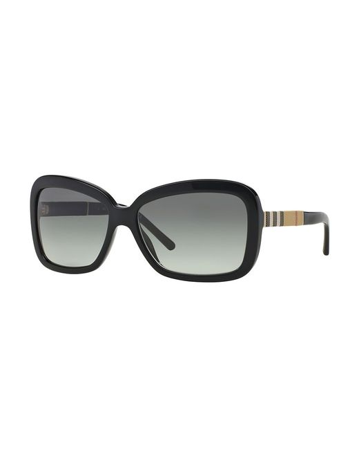 Burberry | Black London Canvas Check Square 58mm Sunglasses | Lyst