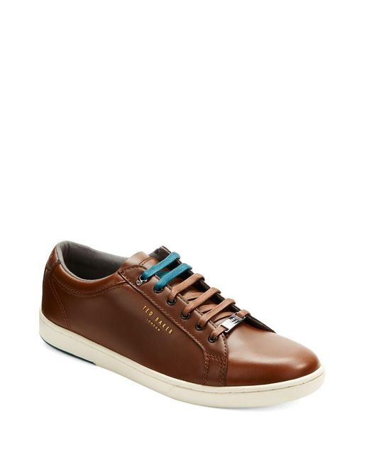 Ted Baker | Brown Theeyo Leather Lace-up Sneakers for Men | Lyst