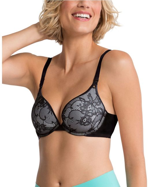 Spanx | Black Pillow Cup Lace Push-up Plunge Bra | Lyst