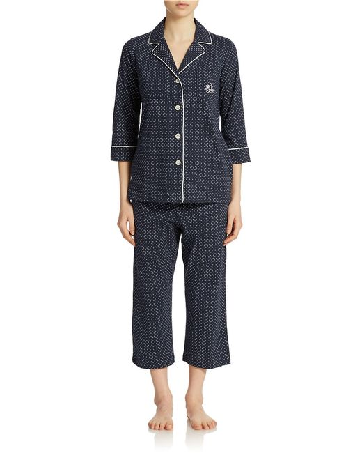 Lauren by Ralph Lauren | Blue 3/4 Sleeve Classic Notch Collar Top And Capri Pajama Pants | Lyst