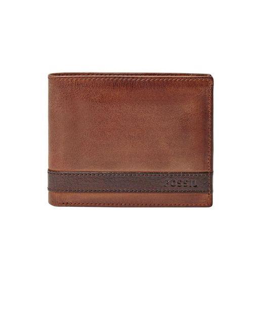 Fossil | Brown Leather Bi-fold Wallet for Men | Lyst