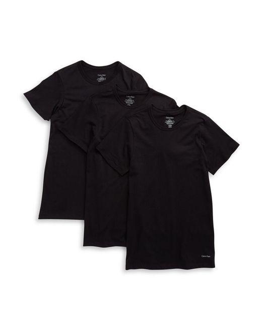 Calvin Klein | Black 3-pack Slim Fit Crewneck T-shirts for Men | Lyst