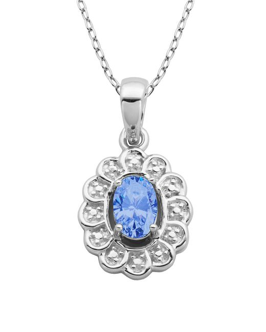 Lord & Taylor | Blue March Birthstone Aqua Cubic Zirconia And Sterling Silver Pendant | Lyst
