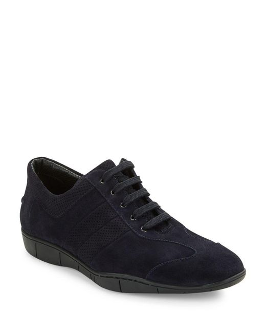 A.Testoni | Blue Suede Lace-up Sneakers for Men | Lyst