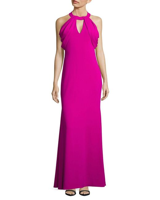 Badgley Mischka | Purple Draped-shoulder Stretch Crepe Gown | Lyst