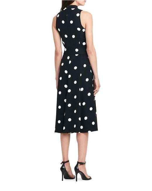 Lauren By Ralph Lauren Petite Polka Dot Crepe Midi Dress