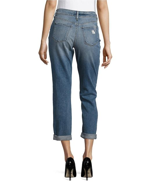 Nydj embroidered cuffed cropped jeans in blue lyst