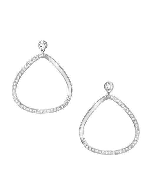 Swarovski | Metallic Gaya Asymmetrical Pavé Hoop Earrings | Lyst