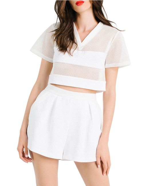 Kendall + Kylie   White Boxy Mesh Crop Top   Lyst