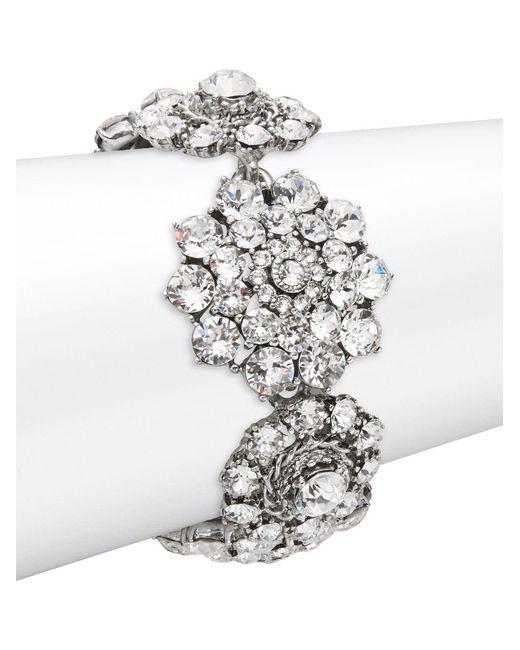 Oscar de la Renta | Multicolor Floral Crystal Toggle Bracelet | Lyst