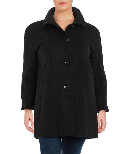Ellen Tracy | Black Single-breasted Wool-blend Coat | Lyst