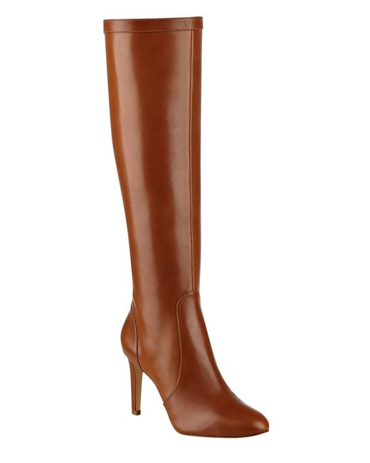 nine west holdtight leather knee high boots in brown lyst