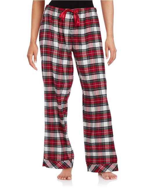 Lord & Taylor | Red Flannel Plaid Pajama Pants | Lyst