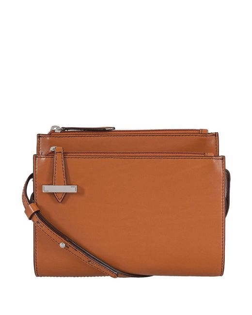 Lodis Trisha Leather Double Zip Crossbody Wallet In Brown