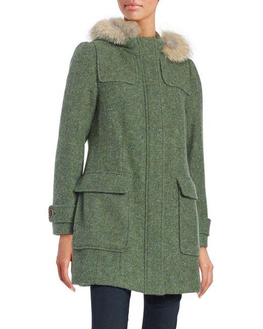 Pendleton Portland Wool Duffle Coat With Genuine Fur Trim in Green ...