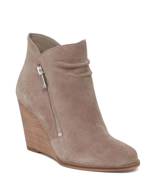 cornella suede wedge boots in gray lyst
