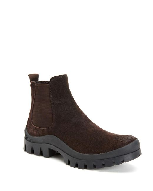 calvin klein hugo suede chelsea boots in brown for lyst