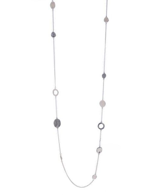 Kenneth Cole | Metallic Silvertone Circle Long Illusion Necklace | Lyst