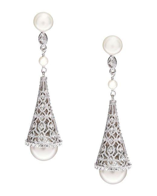 Nadri | White Sparkling Faux Pearl Drop Earrings | Lyst