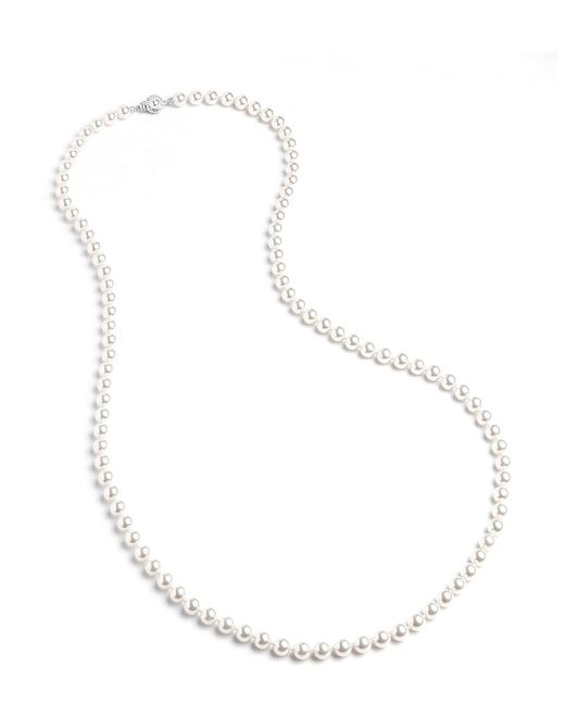 Nadri | White Long Knotted Faux Pearl Necklace | Lyst
