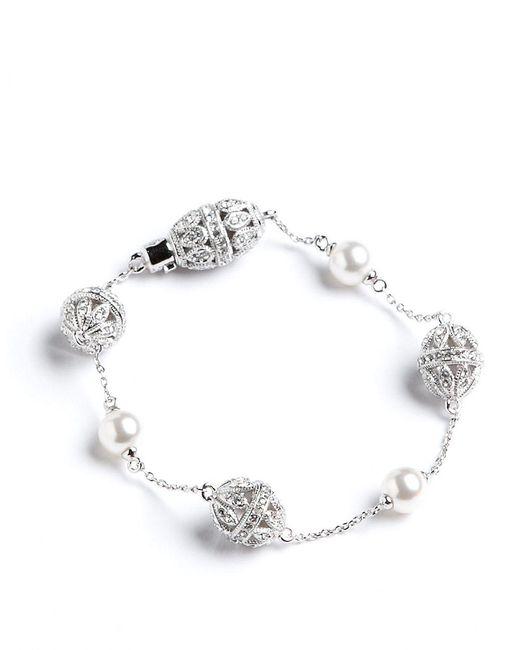 Nadri | Metallic Pave Faux Pearl Bracelet | Lyst