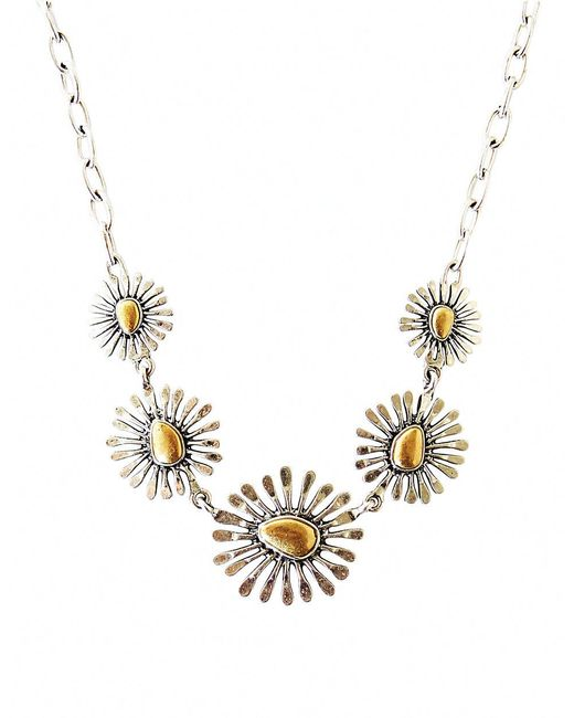 Lucky Brand | Metallic Two-tone Floral Collar Necklace | Lyst