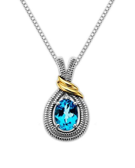 Lord & Taylor | Metallic Sterling Silver Necklace With 14kt. Yellow Gold Blue Topaz And Diamond Pendant | Lyst