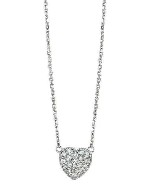 Morris & David | Metallic 14kt White Gold And Diamond Heart Necklace | Lyst