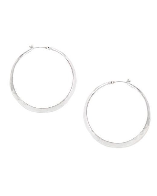 Kenneth Cole | Metallic Silver-plated Hammered Hoop Earrings | Lyst
