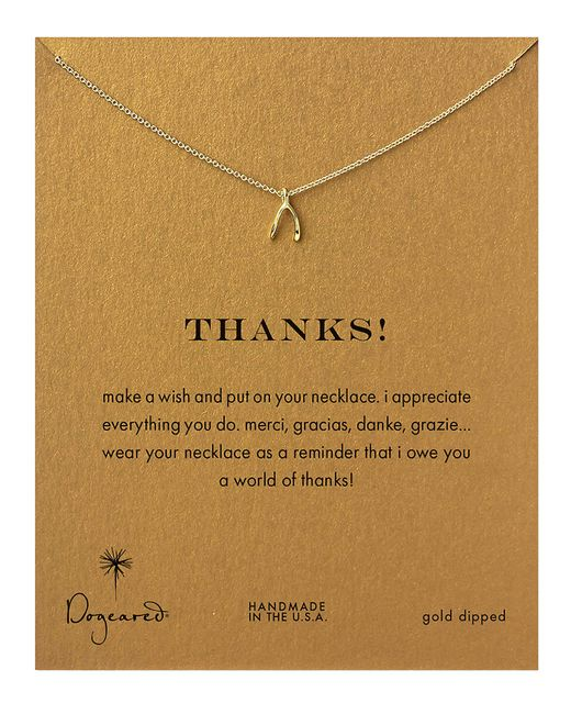 Dogeared | Metallic Gold Dipped Thanks Wishbone Necklace | Lyst