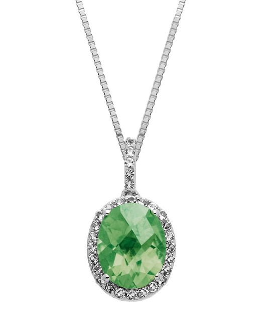 Lord & Taylor | Metallic Sterling Silver And Green Amethyst Pendant Necklace | Lyst