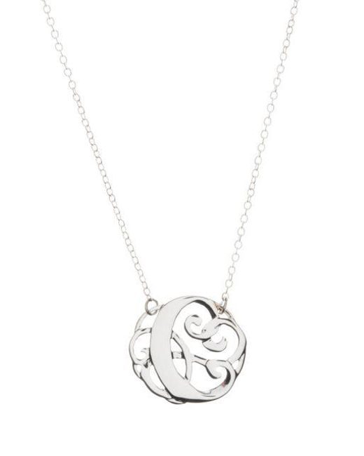 Lord & Taylor   Metallic Sterling Silver C Initial Pendant Necklace   Lyst