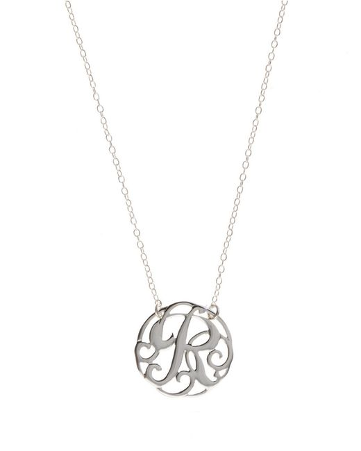 Lord & Taylor | Metallic Sterling Silver R Initial Pendant Necklace | Lyst