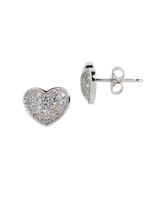 Lord & Taylor | Metallic Sterling Silver And Cubic Zirconia Pave Heart Stud Earrings | Lyst