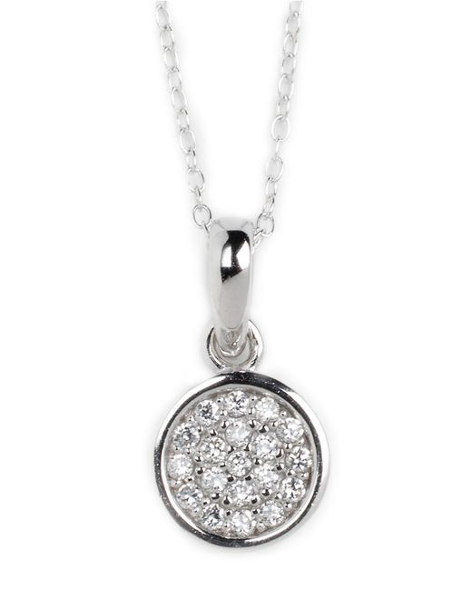 Lord & Taylor | Metallic Sterling Silver And Cubic Zirconia Pendant Necklace | Lyst