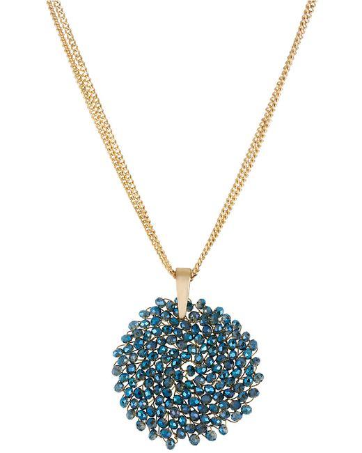 Kenneth Cole | Metallic Gemstone Pendant Drop Necklace | Lyst