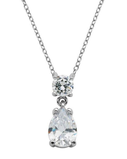 Lord & Taylor   Metallic Sterling Silver And Cubic Zirconia Necklace With Teardrop Crystal   Lyst
