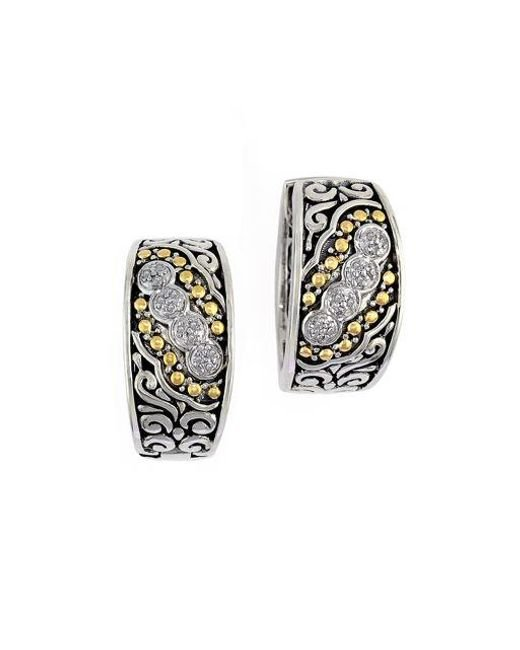 Effy | Metallic Balissima Sterling Silver, Diamond And 18k Yellow Gold Etched Hoop Earrings | Lyst