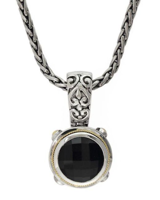 Effy | Black Balissima 18k Yellow Gold And Sterling Silver Onyx Pendant | Lyst