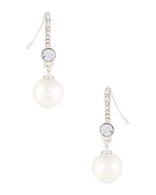 Lauren by Ralph Lauren | White Faux Pearl And Rhinestone Drop Earrings | Lyst