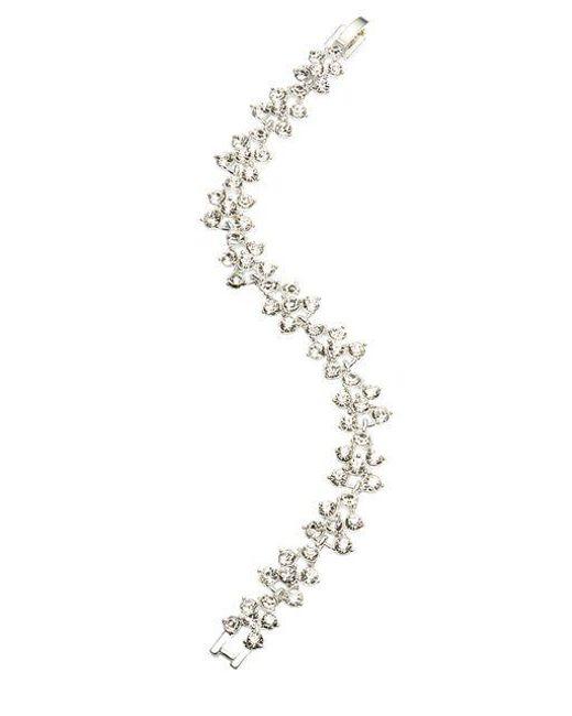 Anne Klein | Metallic Crystallized Silvertone Flex Bracelet | Lyst