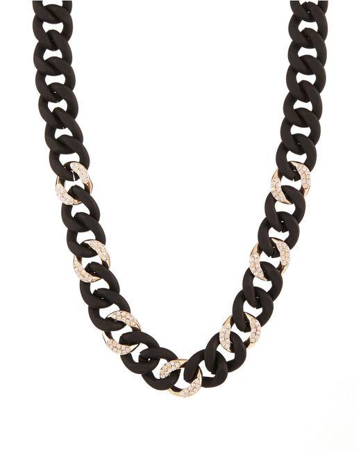 ABS By Allen Schwartz | Pavé Silicone Link Necklace/black | Lyst