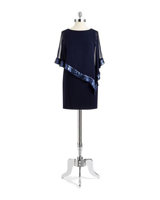 Xscape | Blue Sequin Popover Shift Dress | Lyst