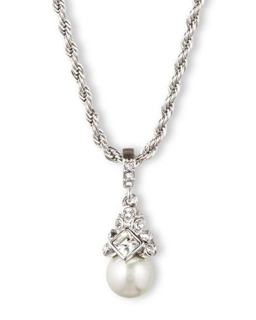 Givenchy | Metallic Braided Silvertone And Crystallized Pearl Pendant Necklace | Lyst