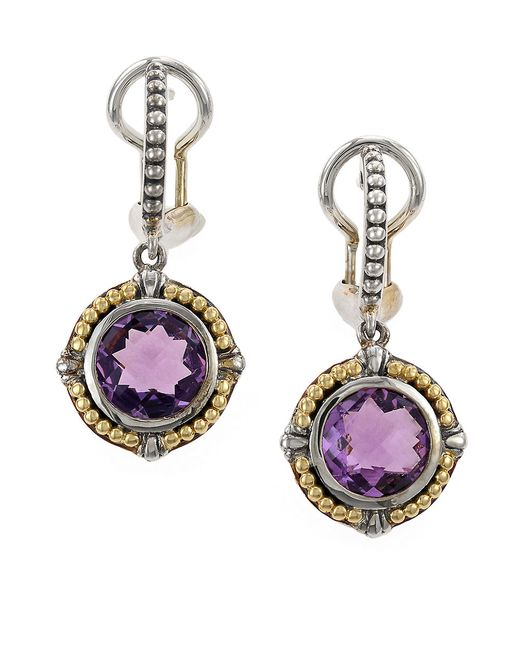 Effy | Metallic Amethyst, Sterling Silver And 18k Yellow Gold Drop Earrings | Lyst